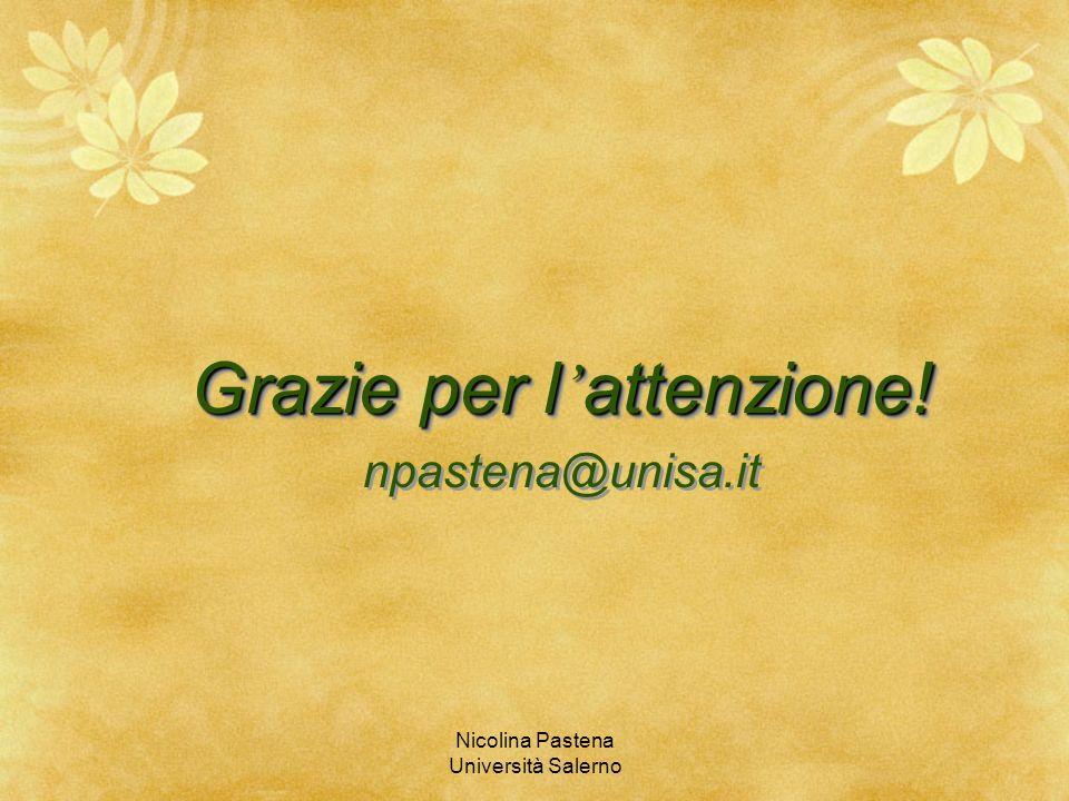 Nicolina Pastena Università Salerno Grazie per l attenzione! npastena@unisa.it Grazie per l attenzione! npastena@unisa.it