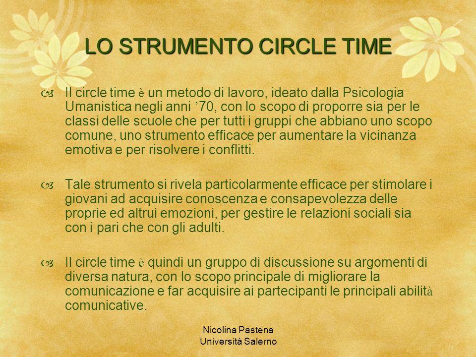 Nicolina Pastena Università Salerno LO STRUMENTO CIRCLE TIME Il circle time è un metodo di lavoro, ideato dalla Psicologia Umanistica negli anni 70, c
