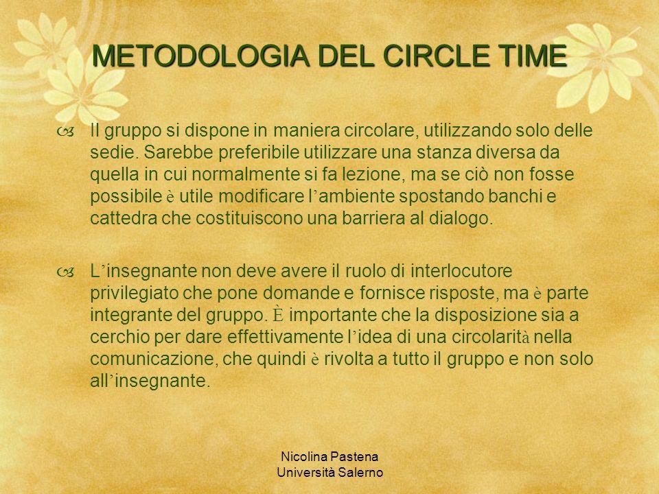 Nicolina Pastena Università Salerno METODOLOGIA DEL CIRCLE TIME Il gruppo si dispone in maniera circolare, utilizzando solo delle sedie. Sarebbe prefe