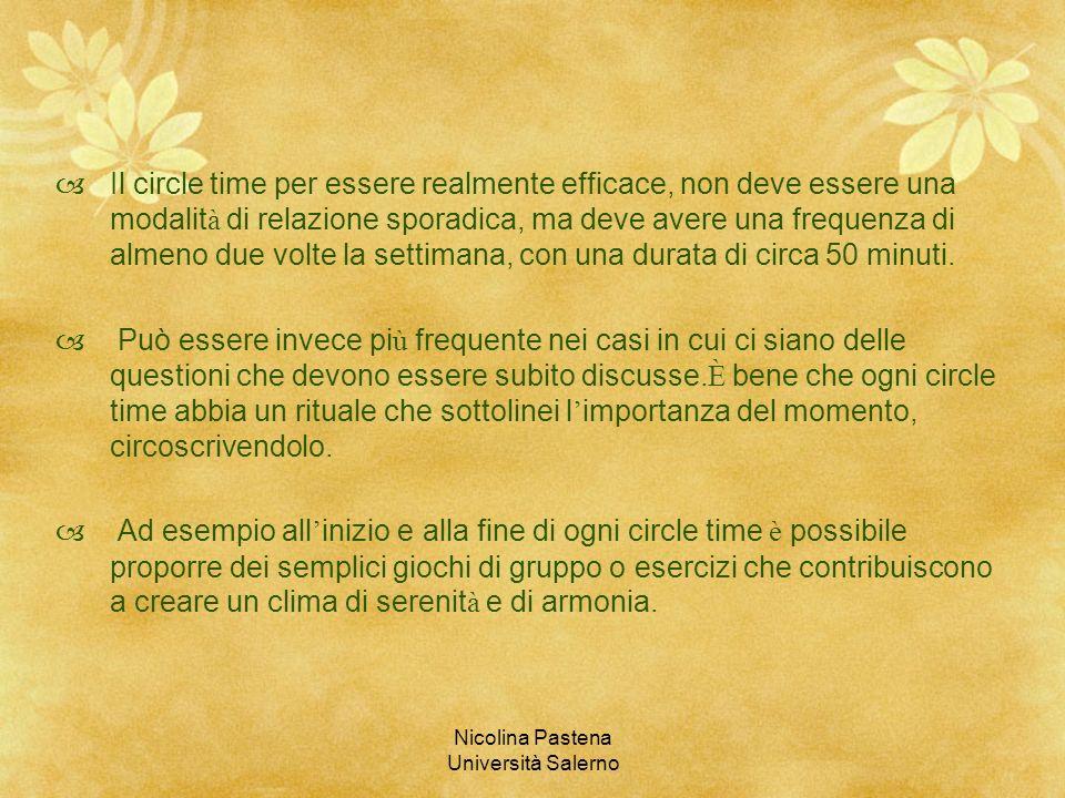 Nicolina Pastena Università Salerno Il circle time per essere realmente efficace, non deve essere una modalit à di relazione sporadica, ma deve avere