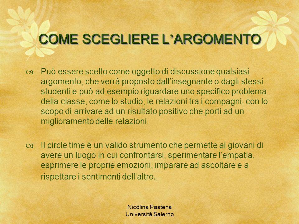 Nicolina Pastena Università Salerno COME SCEGLIERE L ARGOMENTO Può essere scelto come oggetto di discussione qualsiasi argomento, che verrà proposto d