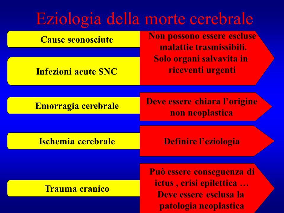Eziologia della morte cerebrale Cause sconosciute Infezioni acute SNC Emorragia cerebrale Ischemia cerebrale Trauma cranico Non possono essere escluse