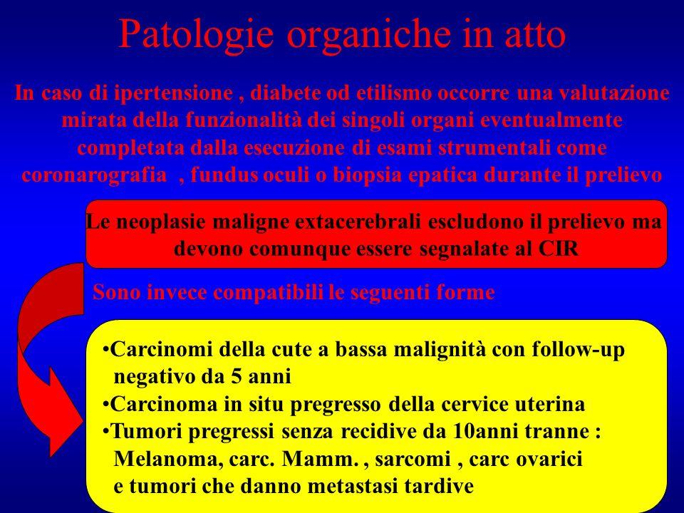 Patologie organiche in atto In caso di ipertensione, diabete od etilismo occorre una valutazione mirata della funzionalità dei singoli organi eventual