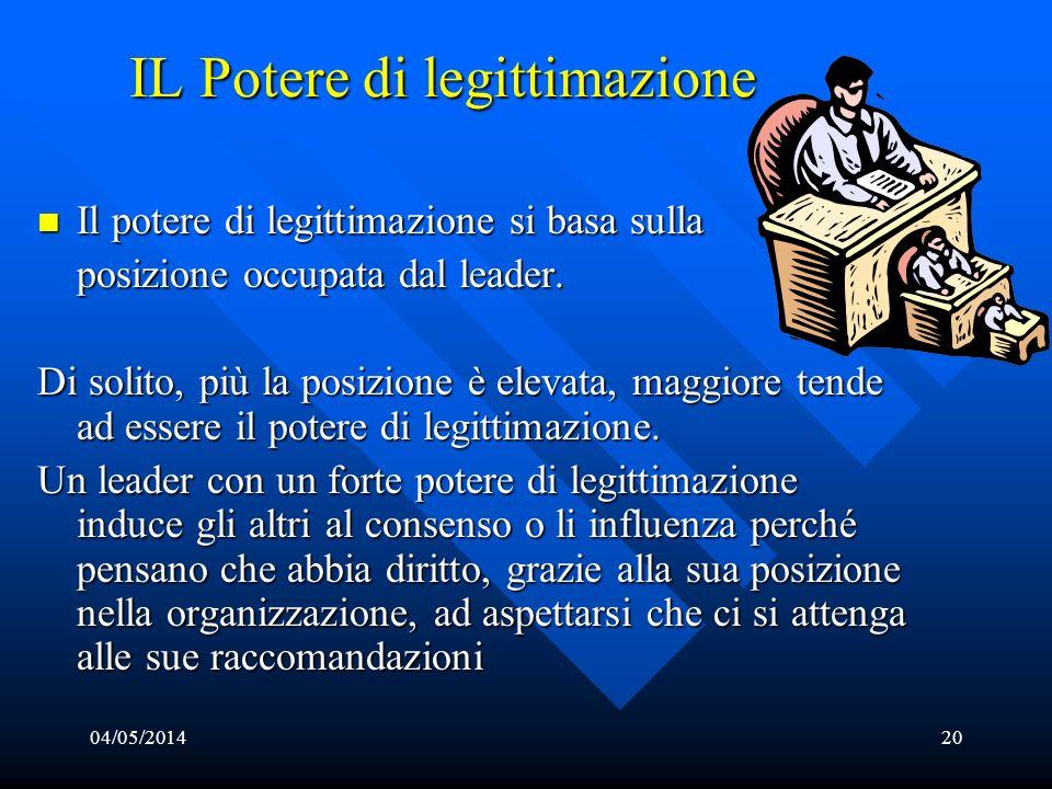 04/05/201420 IL Potere di legittimazione Il potere di legittimazione si basa sulla Il potere di legittimazione si basa sulla posizione occupata dal le