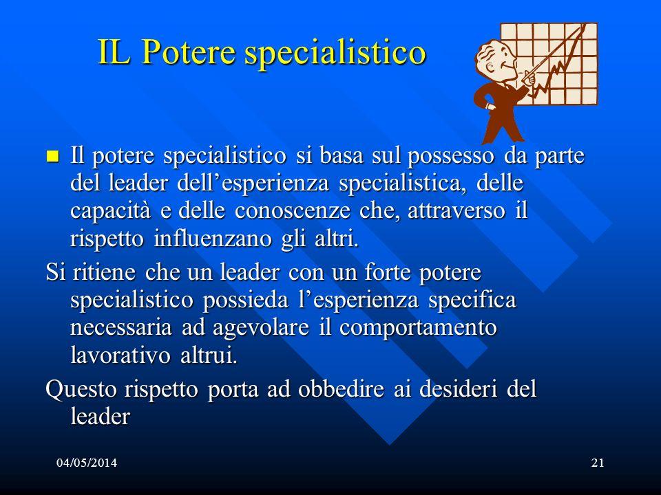 04/05/201421 IL Potere specialistico Il potere specialistico si basa sul possesso da parte del leader dellesperienza specialistica, delle capacità e d