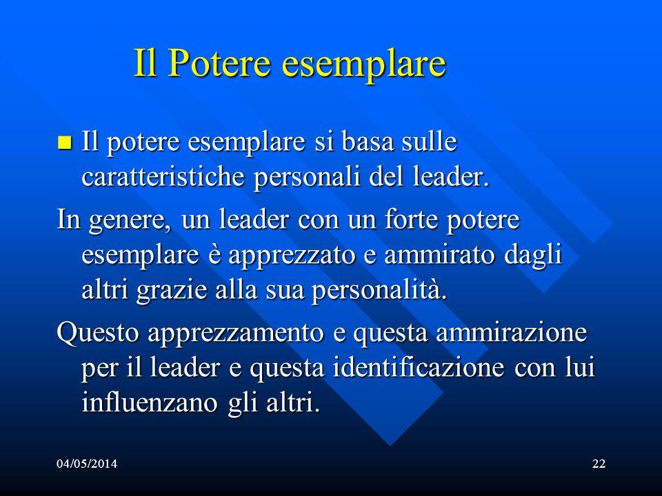 04/05/201422 Il Potere esemplare Il potere esemplare si basa sulle caratteristiche personali del leader. Il potere esemplare si basa sulle caratterist
