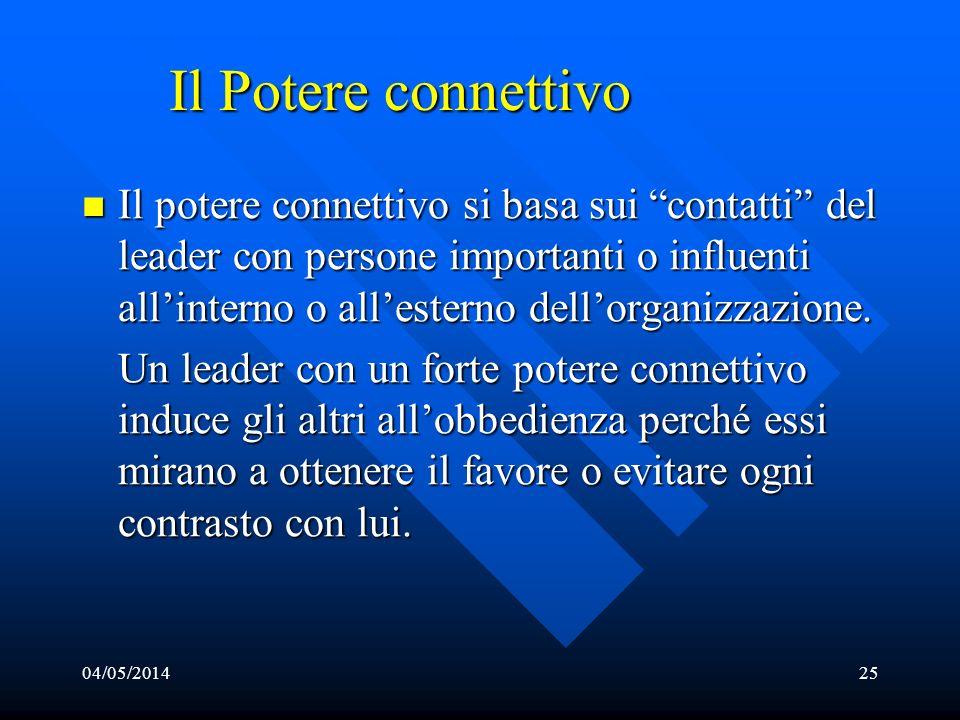 04/05/201425 Il Potere connettivo Il potere connettivo si basa sui contatti del leader con persone importanti o influenti allinterno o allesterno dell