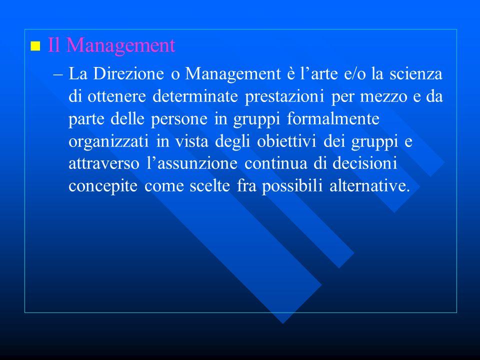 Il Management – –La Direzione o Management è larte e/o la scienza di ottenere determinate prestazioni per mezzo e da parte delle persone in gruppi for