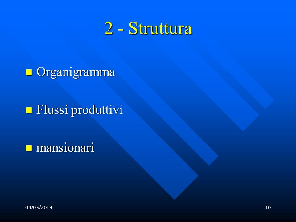 04/05/201410 2 - Struttura Organigramma Organigramma Flussi Flussi produttivi mansionari mansionari