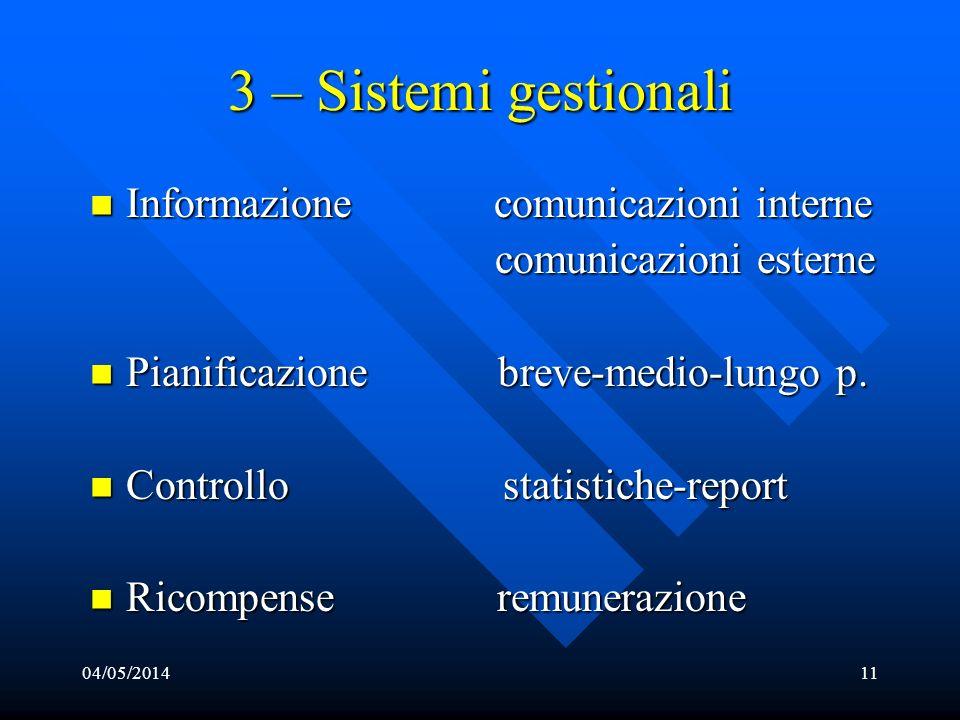 04/05/201411 3 – Sistemi gestionali Informazione Informazione comunicazioni interne comunicazioni esterne Pianificazione Pianificazione breve-medio-lu