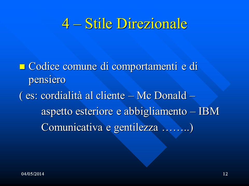 04/05/201412 4 – Stile Direzionale Codice comune di comportamenti e di pensiero Codice comune di comportamenti e di pensiero ( es: cordialità al clien