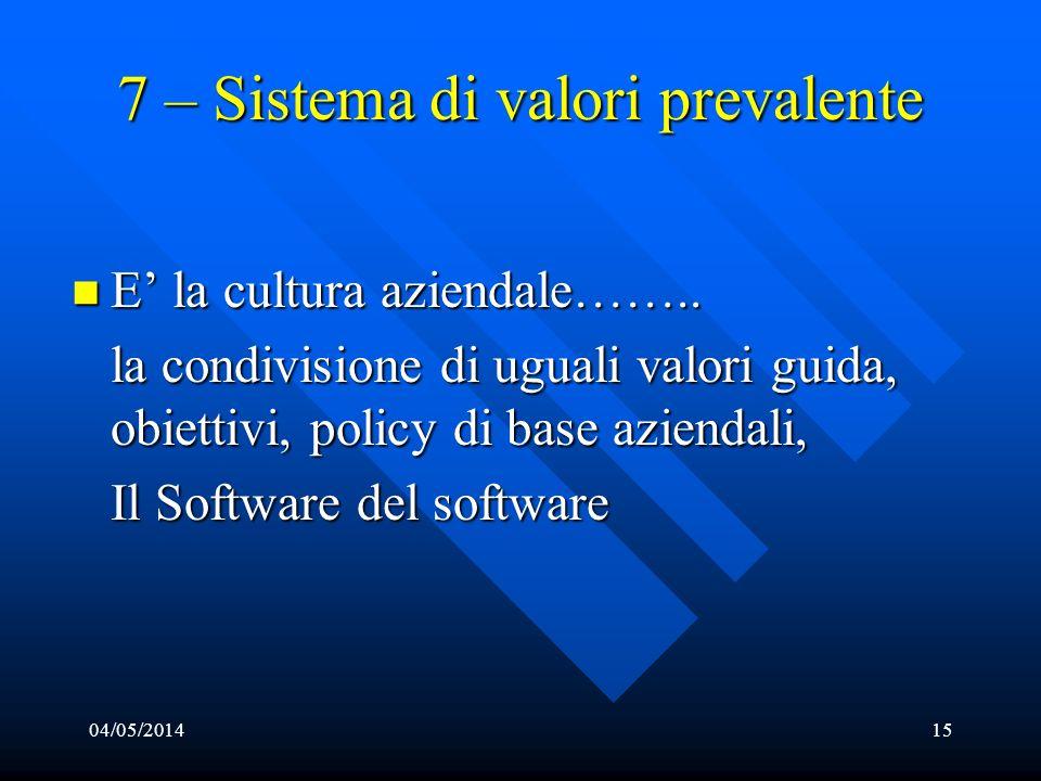 04/05/201415 7 – Sistema di valori prevalente E la cultura aziendale…….. E la cultura aziendale…….. la condivisione di uguali valori guida, obiettivi,