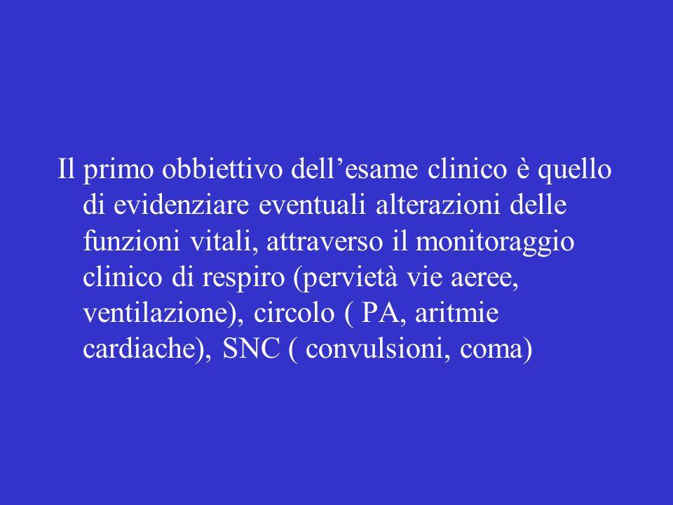 Il primo obbiettivo dellesame clinico è quello di evidenziare eventuali alterazioni delle funzioni vitali, attraverso il monitoraggio clinico di respi