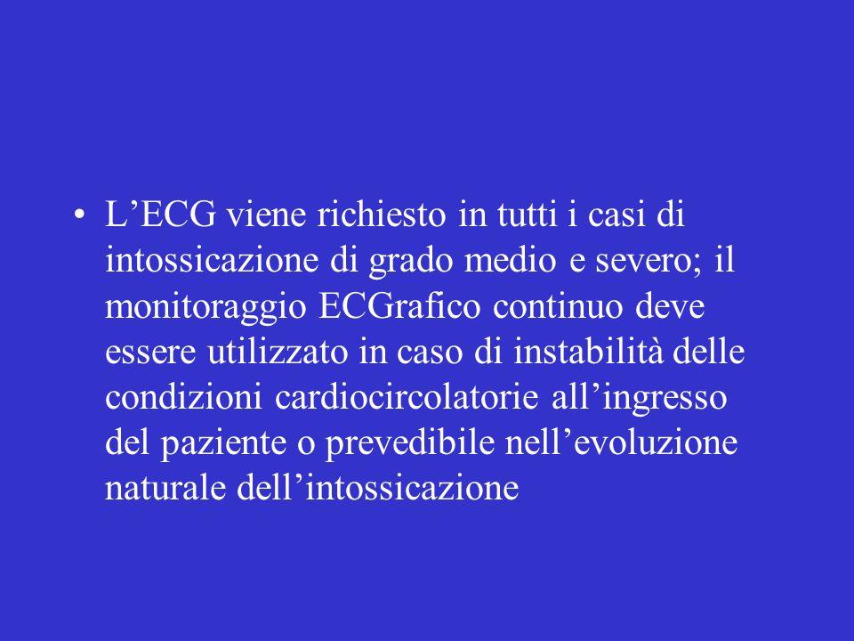 LECG viene richiesto in tutti i casi di intossicazione di grado medio e severo; il monitoraggio ECGrafico continuo deve essere utilizzato in caso di instabilità delle condizioni cardiocircolatorie allingresso del paziente o prevedibile nellevoluzione naturale dellintossicazione