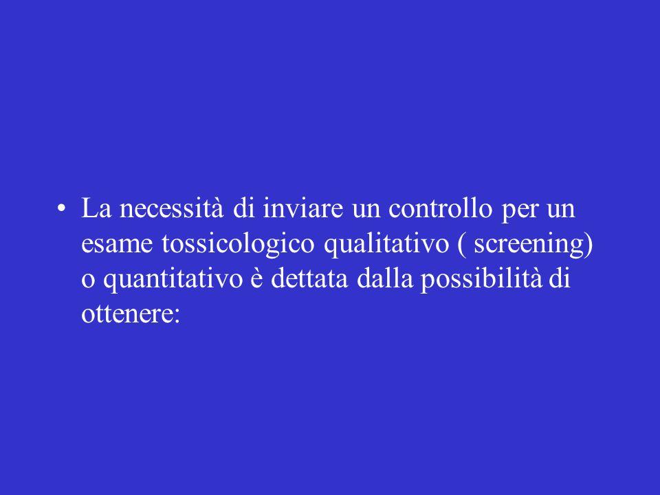 La necessità di inviare un controllo per un esame tossicologico qualitativo ( screening) o quantitativo è dettata dalla possibilità di ottenere: