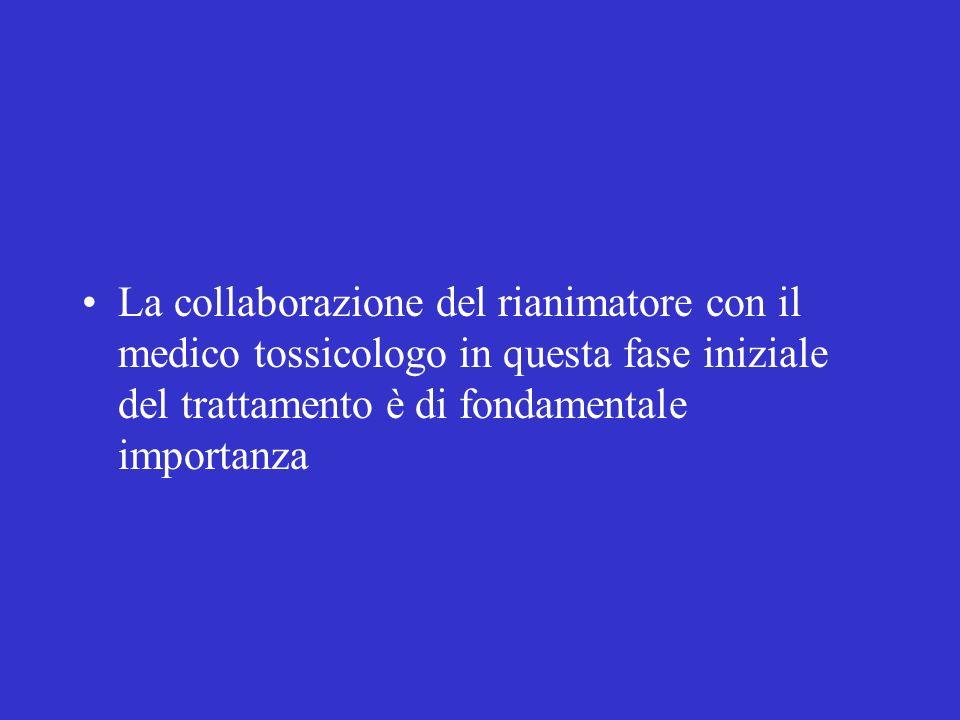 La collaborazione del rianimatore con il medico tossicologo in questa fase iniziale del trattamento è di fondamentale importanza