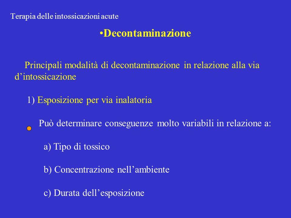 Terapia delle intossicazioni acute Decontaminazione Principali modalità di decontaminazione in relazione alla via dintossicazione 1) Esposizione per via inalatoria Può determinare conseguenze molto variabili in relazione a: a) Tipo di tossico b) Concentrazione nellambiente c) Durata dellesposizione