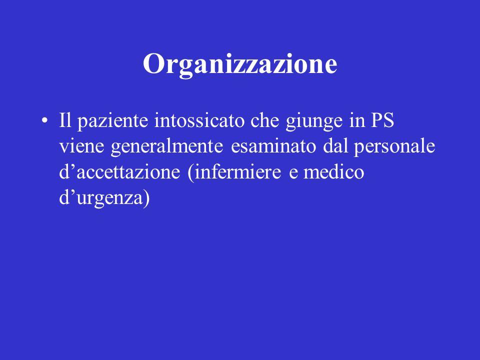 Organizzazione Il paziente intossicato che giunge in PS viene generalmente esaminato dal personale daccettazione (infermiere e medico durgenza)
