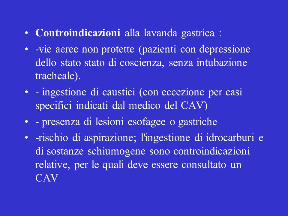 Controindicazioni alla lavanda gastrica : -vie aeree non protette (pazienti con depressione dello stato stato di coscienza, senza intubazione tracheale).