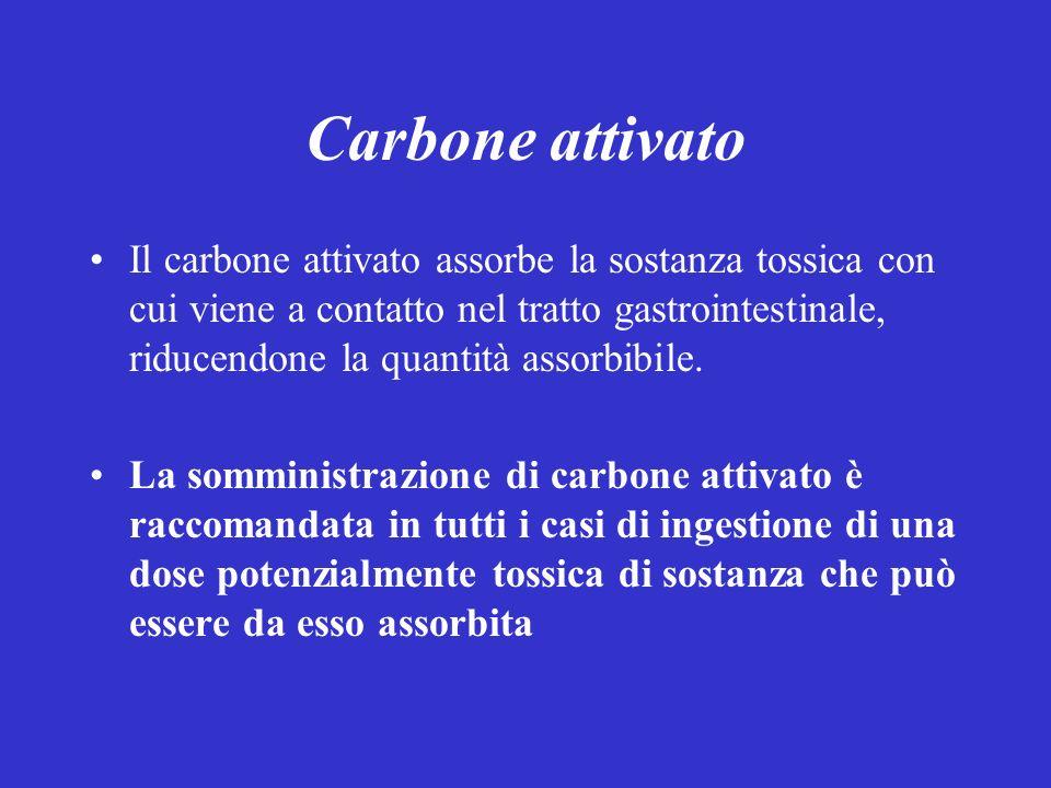 Carbone attivato Il carbone attivato assorbe la sostanza tossica con cui viene a contatto nel tratto gastrointestinale, riducendone la quantità assorbibile.