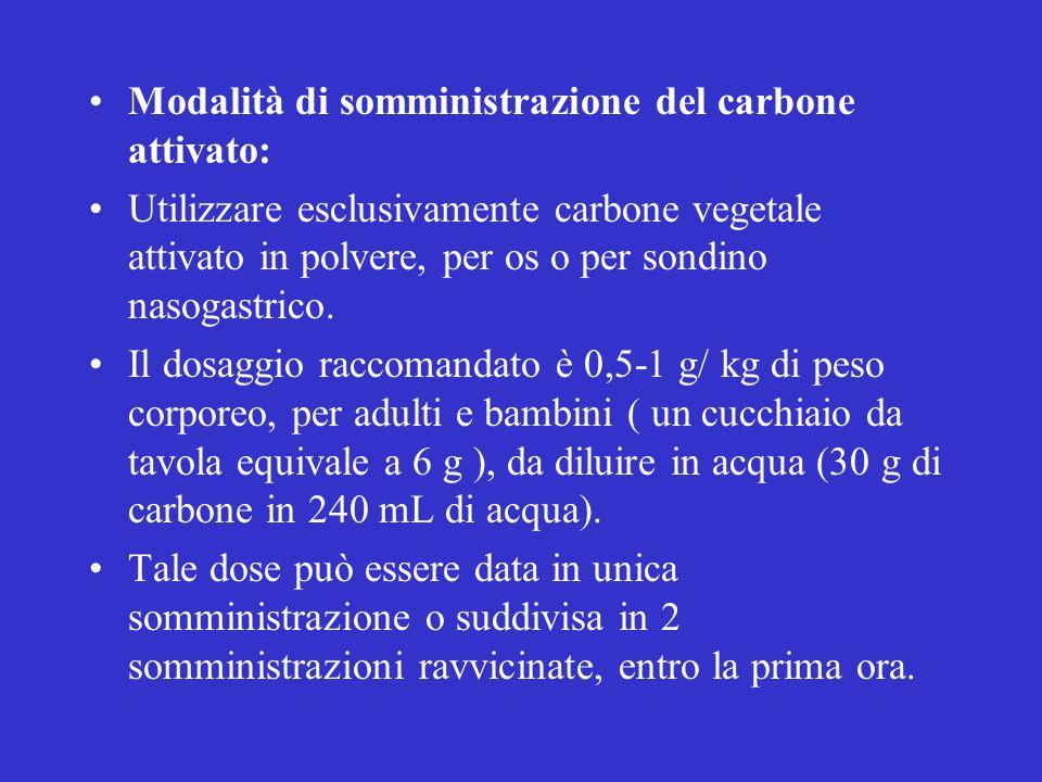 Modalità di somministrazione del carbone attivato: Utilizzare esclusivamente carbone vegetale attivato in polvere, per os o per sondino nasogastrico.