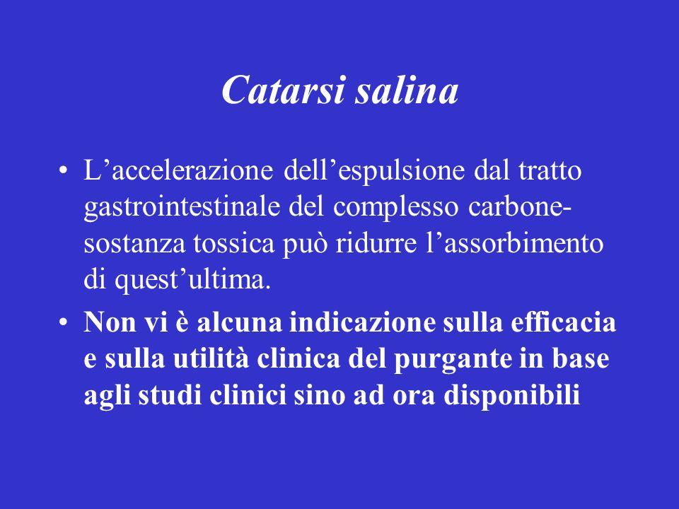 Catarsi salina Laccelerazione dellespulsione dal tratto gastrointestinale del complesso carbone- sostanza tossica può ridurre lassorbimento di questul