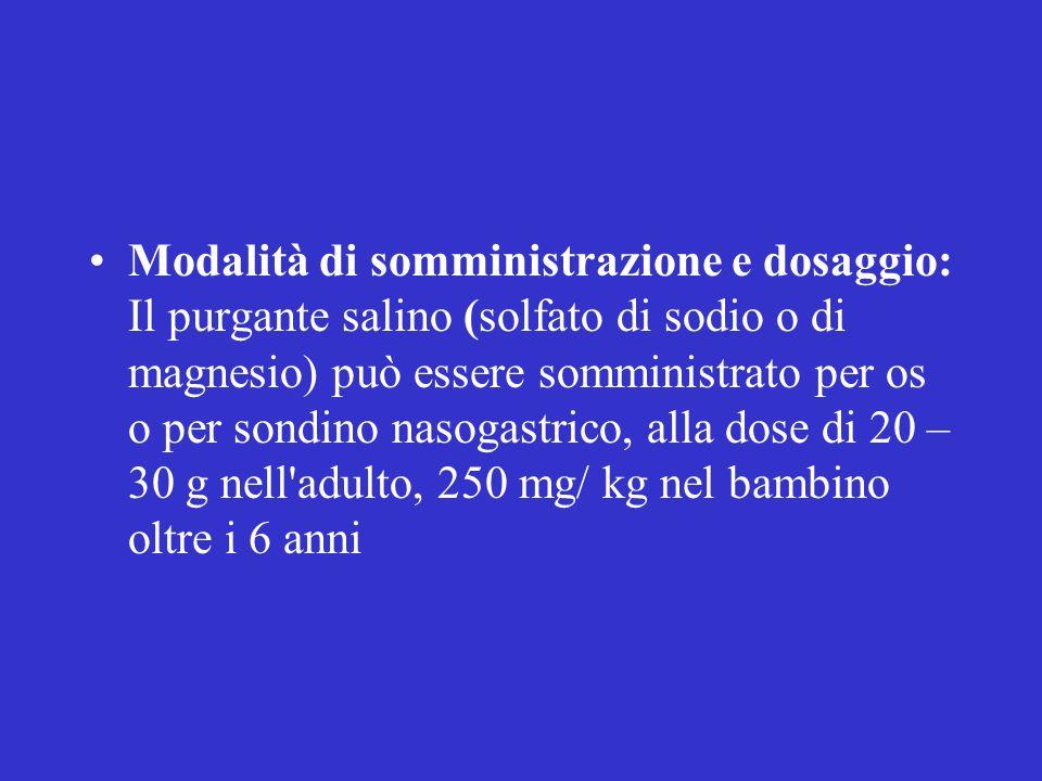 Modalità di somministrazione e dosaggio: Il purgante salino (solfato di sodio o di magnesio) può essere somministrato per os o per sondino nasogastric