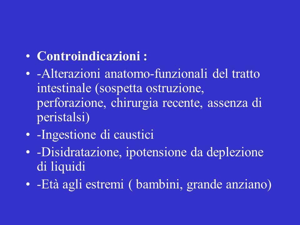 Controindicazioni : -Alterazioni anatomo-funzionali del tratto intestinale (sospetta ostruzione, perforazione, chirurgia recente, assenza di peristals