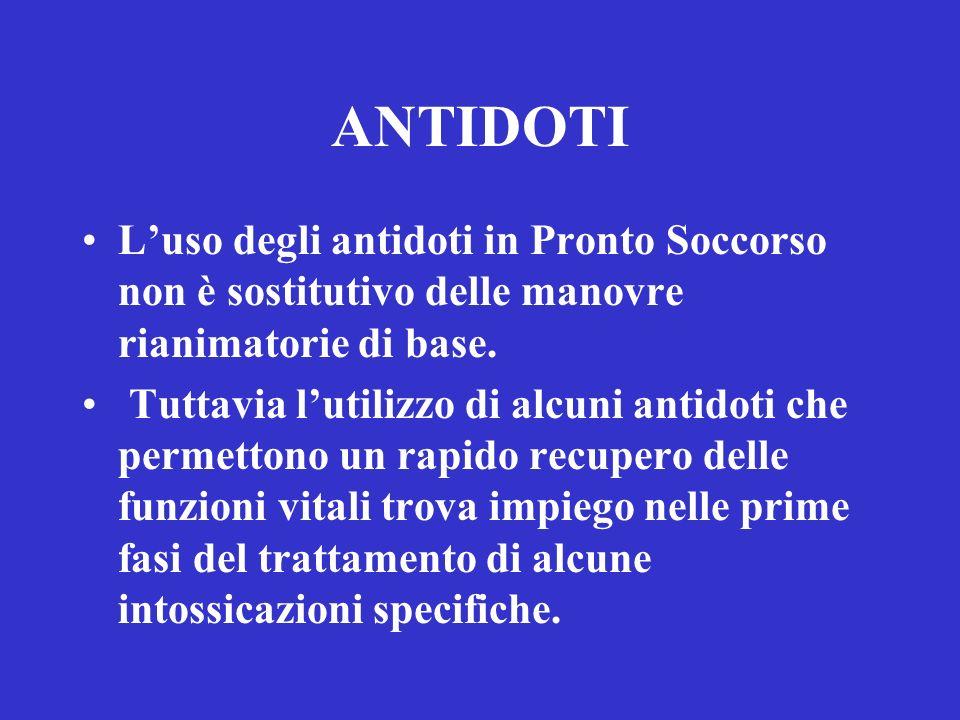 ANTIDOTI Luso degli antidoti in Pronto Soccorso non è sostitutivo delle manovre rianimatorie di base. Tuttavia lutilizzo di alcuni antidoti che permet