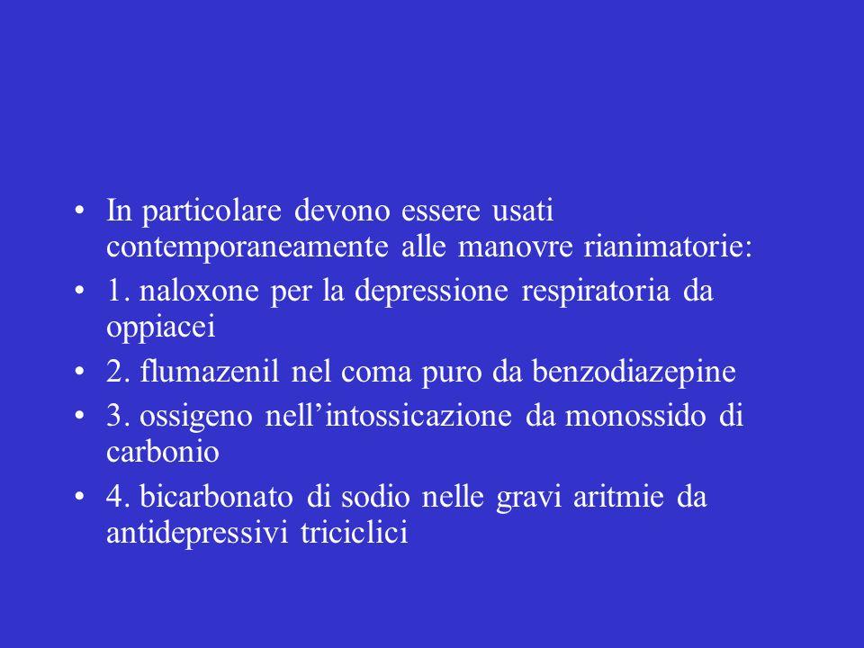 In particolare devono essere usati contemporaneamente alle manovre rianimatorie: 1. naloxone per la depressione respiratoria da oppiacei 2. flumazenil