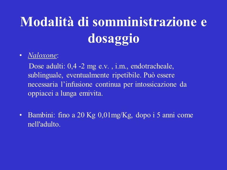 Modalità di somministrazione e dosaggio Naloxone: Dose adulti: 0,4 -2 mg e.v., i.m., endotracheale, sublinguale, eventualmente ripetibile.