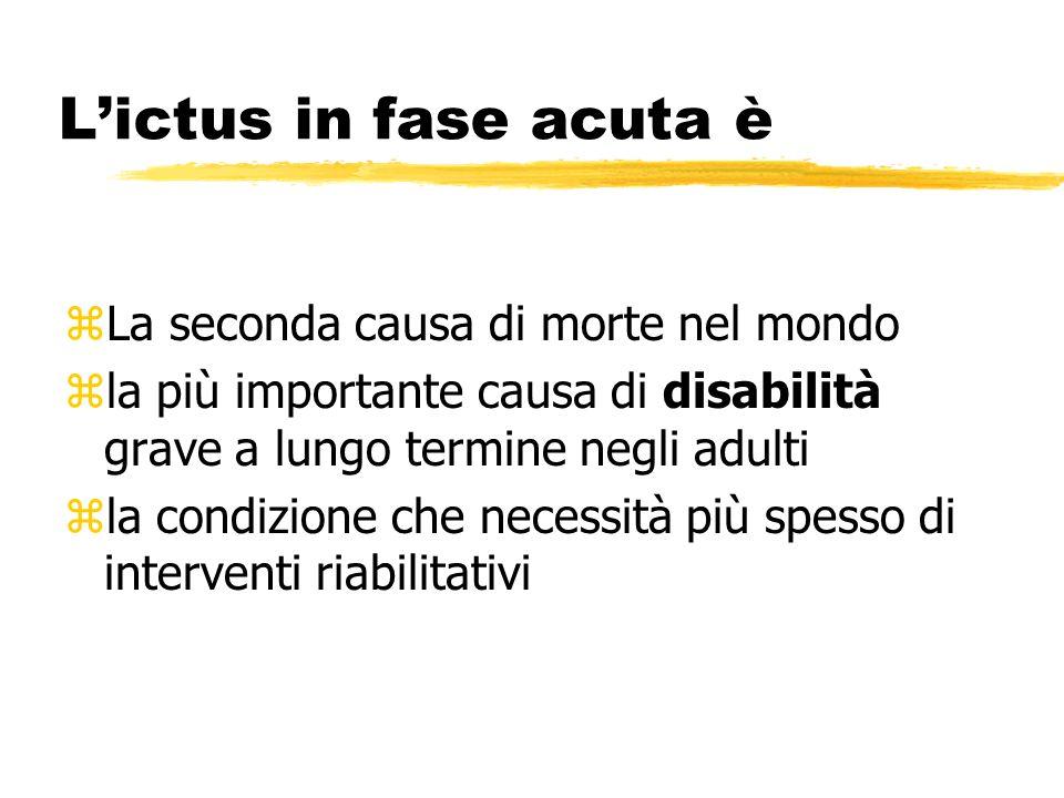 Lictus in fase acuta è zLa seconda causa di morte nel mondo zla più importante causa di disabilità grave a lungo termine negli adulti zla condizione che necessità più spesso di interventi riabilitativi