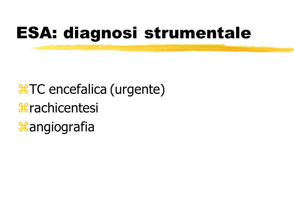 ESA: diagnosi strumentale zTC encefalica (urgente) zrachicentesi zangiografia