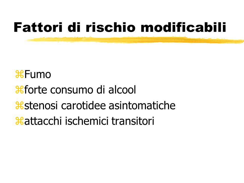 Fattori di rischio modificabili zFumo zforte consumo di alcool zstenosi carotidee asintomatiche zattacchi ischemici transitori