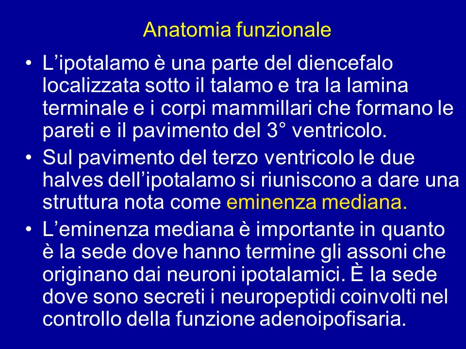 Leminenza mediana forma la porzione infundibolare della neuroipofisi; è attraversata dagli assoni che terminano nellipofisi posteriore Nuclei ipotalamici Nellipotalamo i corpi neuronali sono organizzati in nuclei: i magnocellulari (sopraottico e paraventricolare) secernono ossitocina e vasopressina; i parvicellulari secernono neurormoni ad azione stimolatoria o inibitoria delladenoipofisi