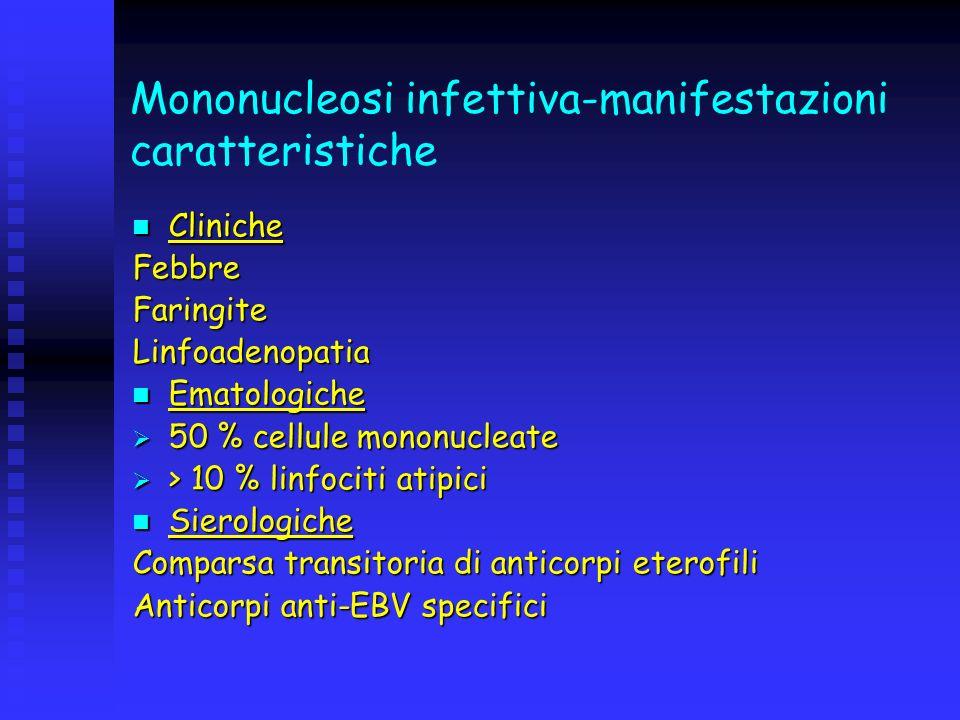 Mononucleosi infettiva-manifestazioni caratteristiche Cliniche ClinicheFebbreFaringiteLinfoadenopatia Ematologiche Ematologiche 50 % cellule mononucle