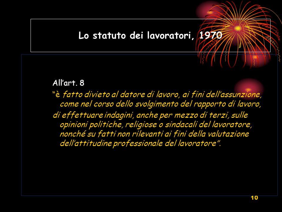 10 Lo statuto dei lavoratori, 1970 Allart. 8 è fatto divieto al datore di lavoro, ai fini dellassunzione, come nel corso dello svolgimento del rapport