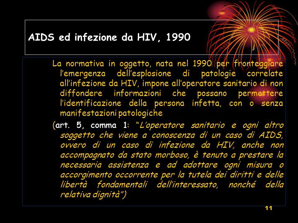 11 AIDS ed infezione da HIV, 1990 La normativa in oggetto, nata nel 1990 per fronteggiare lemergenza dellesplosione di patologie correlate allinfezion