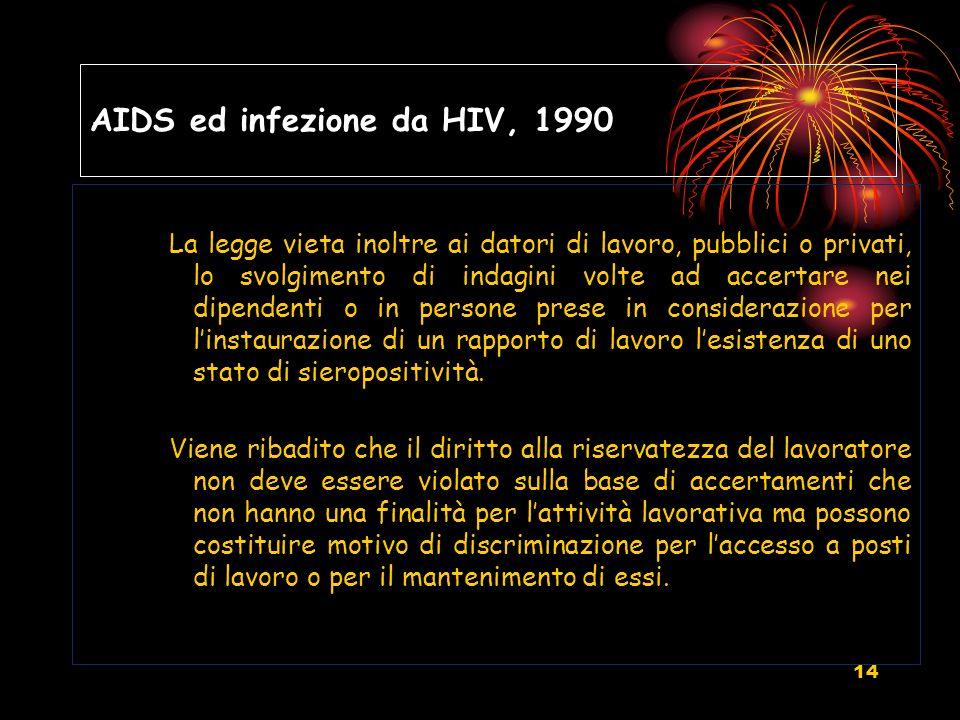 14 AIDS ed infezione da HIV, 1990 La legge vieta inoltre ai datori di lavoro, pubblici o privati, lo svolgimento di indagini volte ad accertare nei di