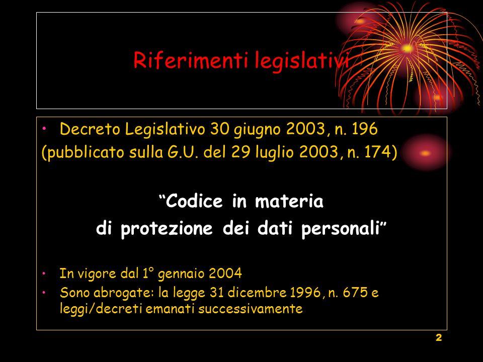 2 Riferimenti legislativi Decreto Legislativo 30 giugno 2003, n. 196 (pubblicato sulla G.U. del 29 luglio 2003, n. 174) Codice in materia di protezion