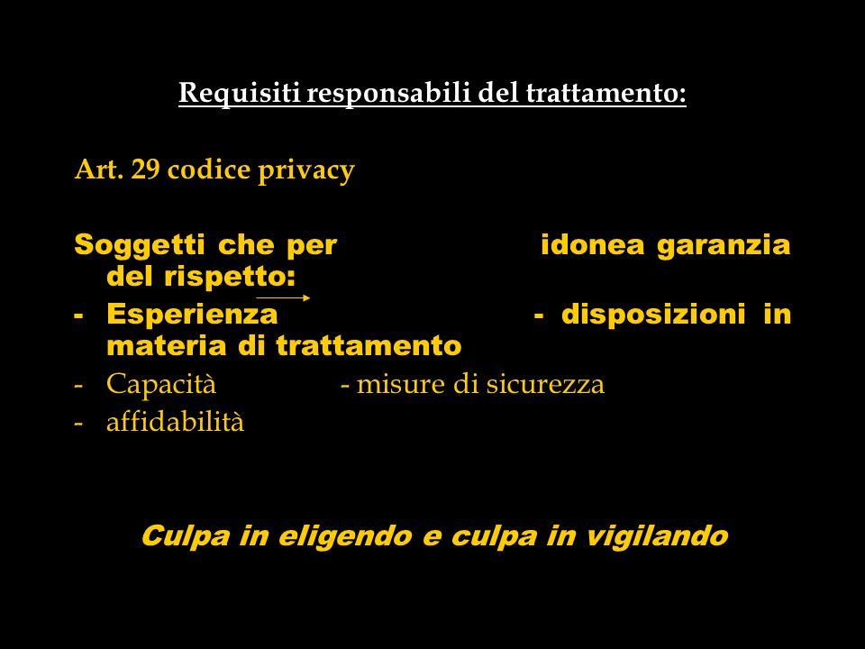 Requisiti responsabili del trattamento: Art. 29 codice privacy Soggetti che per idonea garanzia del rispetto: -Esperienza - disposizioni in materia di