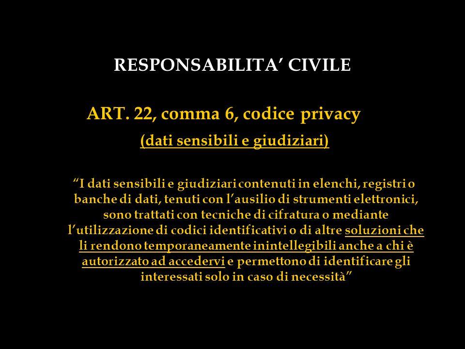 RESPONSABILITA CIVILE ART. 22, comma 6, codice privacy (dati sensibili e giudiziari) I dati sensibili e giudiziari contenuti in elenchi, registri o ba