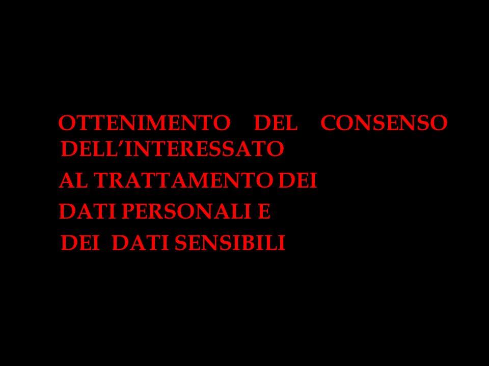 OTTENIMENTO DEL CONSENSO DELLINTERESSATO AL TRATTAMENTO DEI DATI PERSONALI E DEI DATI SENSIBILI
