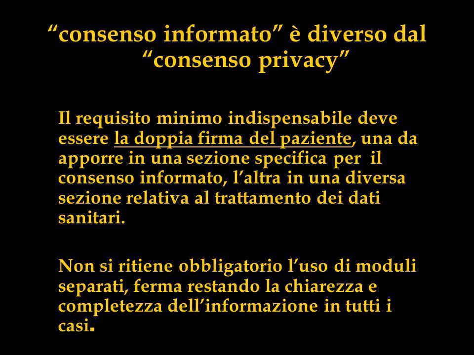 consenso informato è diverso dal consenso privacy Il requisito minimo indispensabile deve essere la doppia firma del paziente, una da apporre in una s