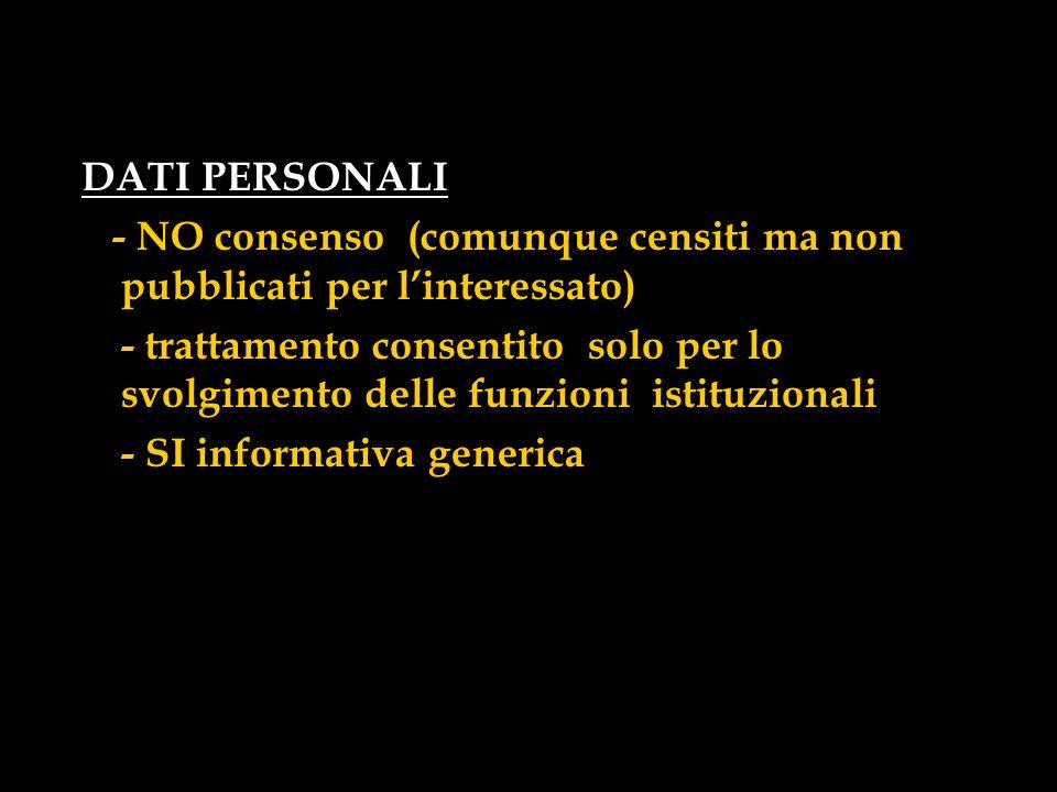 DATI PERSONALI - NO consenso (comunque censiti ma non pubblicati per linteressato) - trattamento consentito solo per lo svolgimento delle funzioni ist