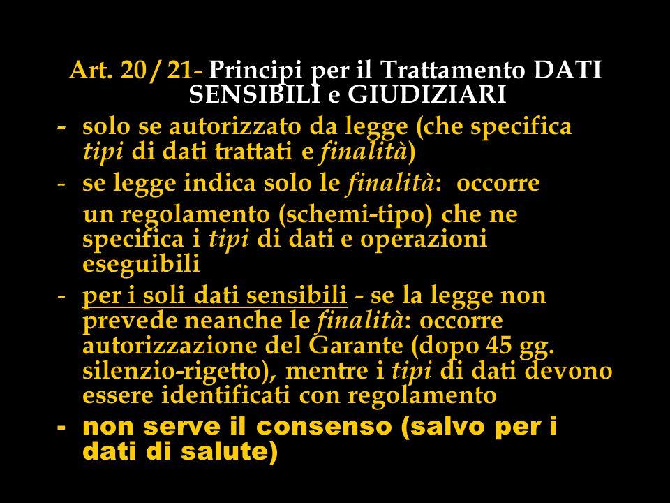 Art. 20 / 21- Principi per il Trattamento DATI SENSIBILI e GIUDIZIARI - solo se autorizzato da legge (che specifica tipi di dati trattati e finalità )