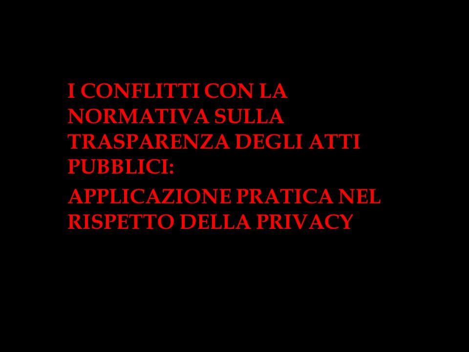 I CONFLITTI CON LA NORMATIVA SULLA TRASPARENZA DEGLI ATTI PUBBLICI: APPLICAZIONE PRATICA NEL RISPETTO DELLA PRIVACY