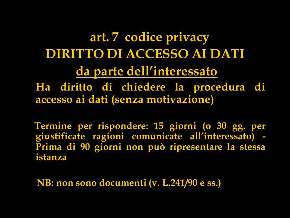 art. 7 codice privacy DIRITTO DI ACCESSO AI DATI da parte dellinteressato Ha diritto di chiedere la procedura di accesso ai dati (senza motivazione) T