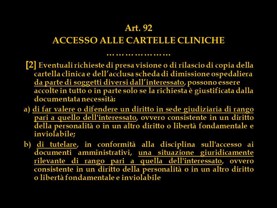 Art. 92 ACCESSO ALLE CARTELLE CLINICHE ………………… [ 2] Eventuali richieste di presa visione o di rilascio di copia della cartella clinica e dellacclusa s