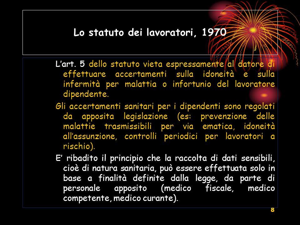 9 Lo statuto dei lavoratori, 1970 Lart.